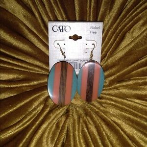 Cato Fashions Oval Shaped Wooden Earrings